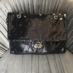Kathy Ireland Black/Silver Sequin Shoulder Bag